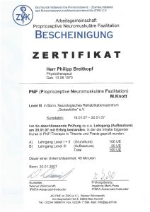 Bescheinigung Zertifikat Propriozeptive Neuromuskuläre Fazilitation Physiotherapie Praxis Kreuzlingen Philipp Breitkopf