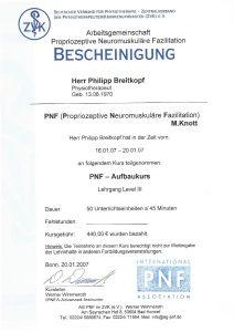 Bescheinigung Propriozeptive Neuromuskuläre Fazilitation Physiotherapie Praxis Kreuzlingen Philipp Breitkopf