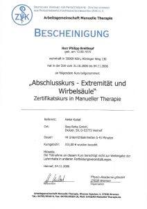 Bescheinigung Manuelle Therapie Abschlusskurs Extremität und Wirbelsäule Physiotherapie Praxis Kreuzlingen Philipp Breitkopf