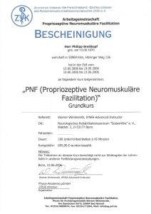 Bescheinigung Grundkurs Proprozeptive neuromuskuläre Fazilitation Physiotherapie Praxis Kreuzlingen Philipp Breitkopf