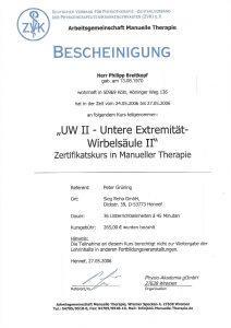 Bescheinigung Untere Extremität-Wirbelsäule 2 Manuelle Theraphie Physiotherapie Praxis Kreuzlingen Philipp Breitkopf