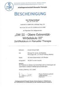 Bescheinigung Obere Extremität-Wirbelsäule 3 Manuelle Theraphie Physiotherapie Praxis Kreuzlingen Philipp Breitkopf