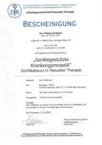 Bescheinigung Gerätegestützte Krankengymnastik Manuelle Theraphie Physiotherapie Praxis Kreuzlingen Philipp Breitkopf