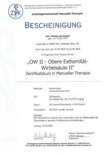 Bescheinigung Obere Extremität-Wirbelsäule 2 Manuelle Theraphie Physiotherapie Praxis Kreuzlingen Philipp Breitkopf