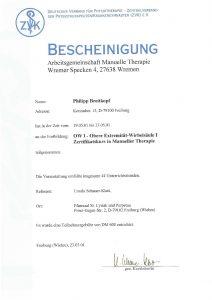 Bescheinigung Arbeitsgemeinschaft Manuelle Theraphie Physiotherapie Praxis Kreuzlingen Philipp Breitkopf