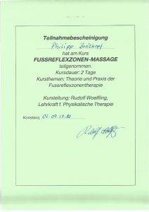 Fussreflexzonenmassage Physiotherapie Praxis Kreuzlingen Philipp Breitkopf