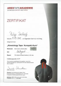 Zertifikat Kompaktkurs Kinesiology Tape Physiotherapie Praxis Kreuzlingen Philipp Breitkopf