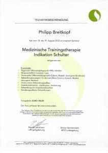 Medizinische Trainingstherapie Indikation Schulter Physiotherapie Praxis Kreuzlingen Philipp Breitkopf