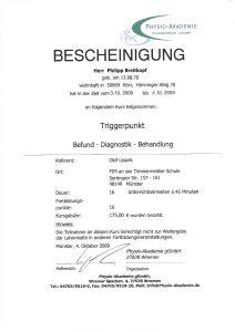 Triggerpunkt Bescheinigung Physiotherapie Praxis Kreuzlingen Philipp Breitkopf
