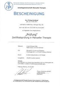 Bescheinigung Zertifikat Prüfung Manuelle Therapie Physiotherapie Praxis Kreuzlingen Philipp Breitkopf